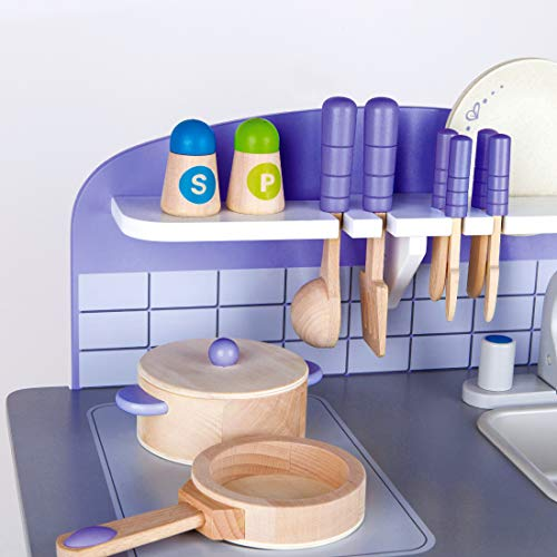 Usa Toyz Hape Kitchen Playset Exclusive Purple Wooden Play W 13 Wood Playsets Accessories For Toddler S Boys