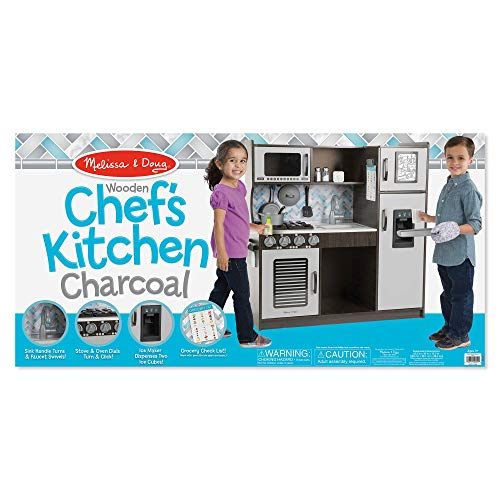 Melissa Doug Wooden Chef S Pretend Play Toy Kitchen With Ice Cube Dispenser Charcoal