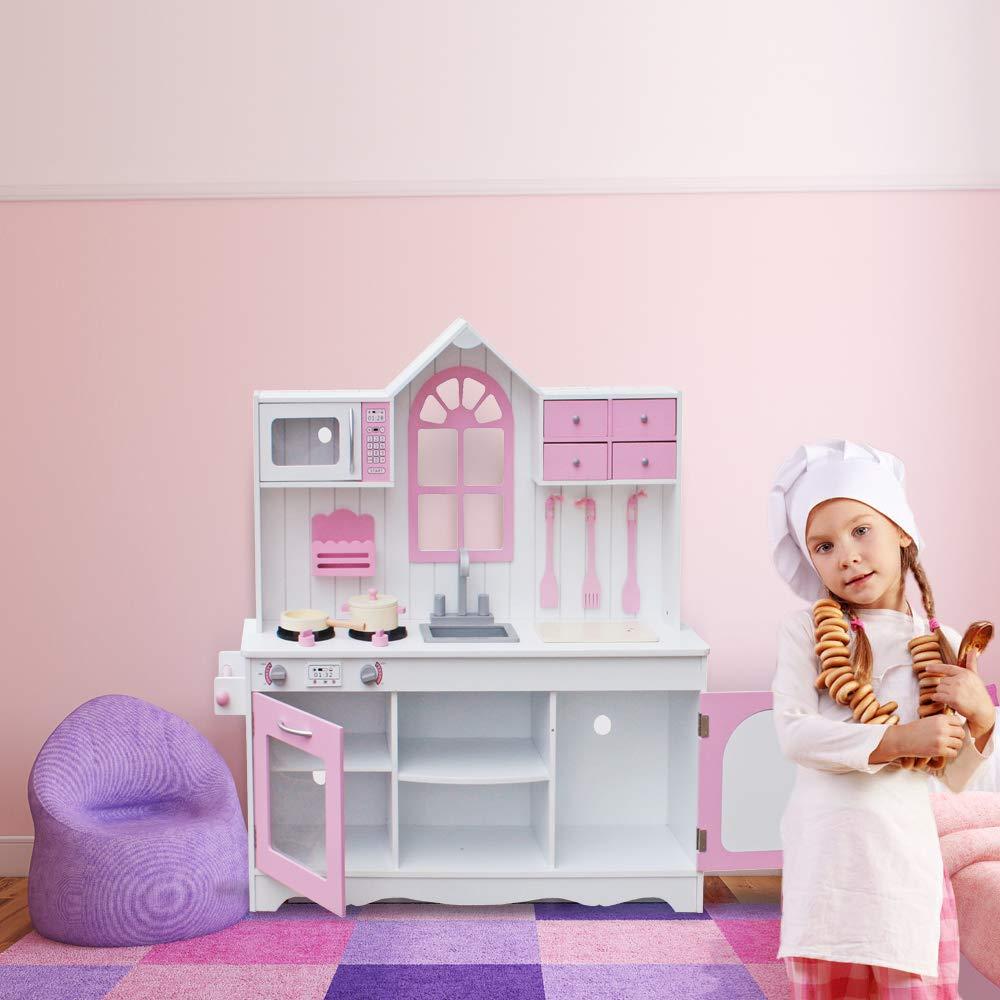 Kepooman Kids Kitchen Playsets,Wooden Cookware Cooking Baking Accessories  Pretend Play Set Toddler Girls Boys Kitchenware Gift Toy