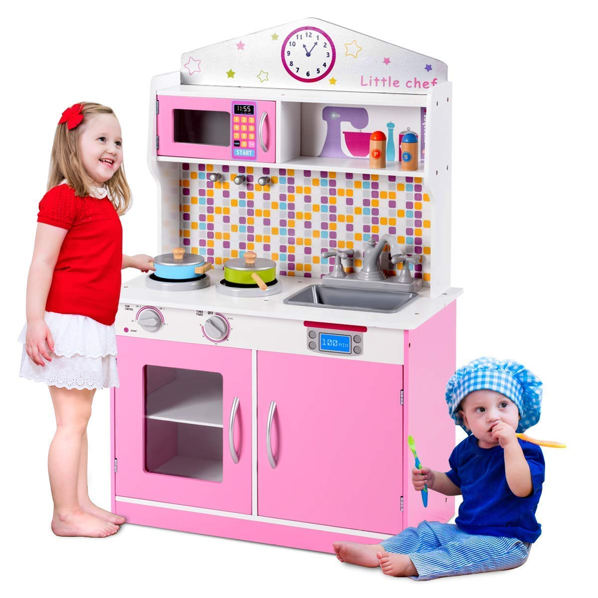 Costzon Kids Kitchen Playset, Wooden Cookware Pretend Cooking Food Set  Toddler Gift Toy (37.5 Height, Pink)